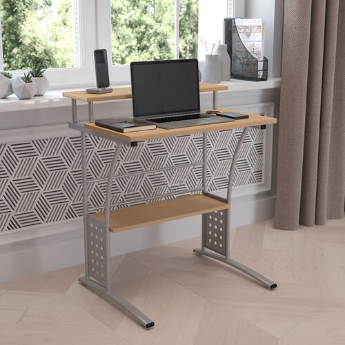 Clifton Maple Computer Desk with Top and Lower Storage Shelves
