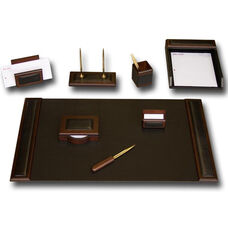 Wood and Leather 8 Piece Desk Set - Walnut and Black