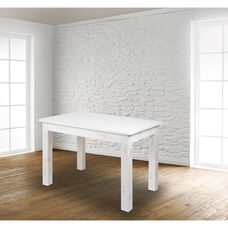 """46"""" x 30"""" Rectangular Antique Rustic White Solid Pine Farm Dining Table"""