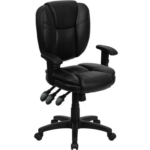 Our Mid-Back Black LeatherSoft Multifunction Swivel Ergonomic Task Office Chair with Pillow Top Cushioning and Arms is on sale now.