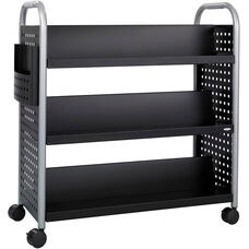Scoot™ 41.25'' W x 17.75'' D Six Shelf Double Sided Book Cart - Black