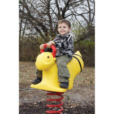 Weather Resistant Powder Coat Paint Finished Rotomolded Plastic Bumble Bee Spring Rider with Safety Handle