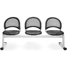 Moon 3-Beam Seating with 3 Vinyl Seats - Charcoal