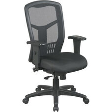 Pro-Line II Breathable ProGrid® High Back Chair with Adjustable Padded Seat and Arms - Black