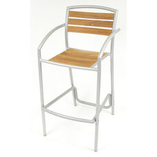 Curacao Indoor/ Outdoor Teak Barstool with Arms and Welded Aluminum Frame