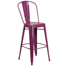 "Commercial Grade 30"" High Purple Metal Indoor-Outdoor Barstool with Back"