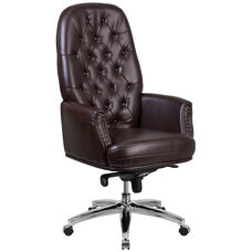 High Back Traditional Tufted Brown Leather Multifunction Executive Swivel Ergonomic Office Chair with Arms