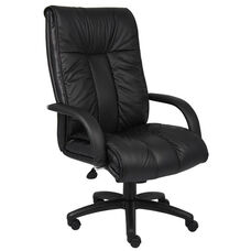 Italian Leather High Back Executive Chair with Armrests - Black