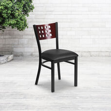 Black Decorative Cutout Back Metal Restaurant Chair with Mahogany Wood Back & Black Vinyl Seat