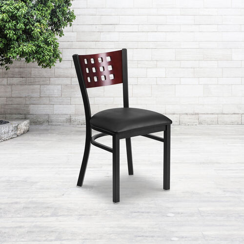 Our Black Decorative Cutout Back Metal Restaurant Chair is on sale now.