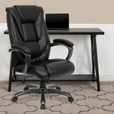 High Back Black LeatherSoft Layered Upholstered Executive Swivel Ergonomic Office Chair with Smoke Metal Base and Arms
