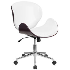 Mid-Back Mahogany Wood Conference Office Chair in White Leather