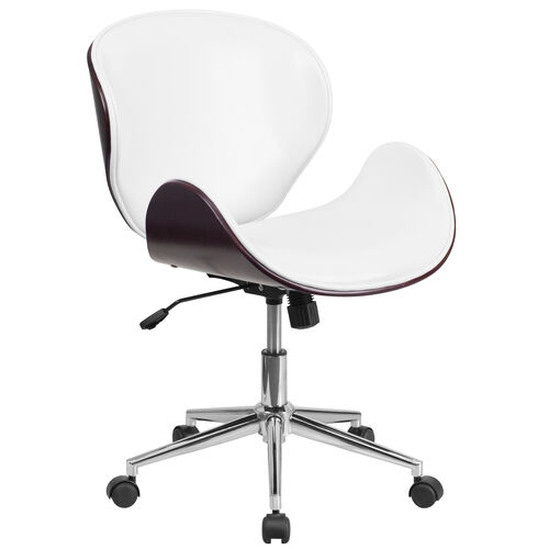 Our Mid-Back Mahogany Wood Conference Office Chair in White Leather is on sale now.