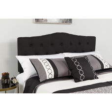 Cambridge Tufted Upholstered King Size Headboard in Black Fabric