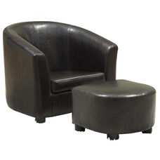 Juvenile Faux Leather Chair Set with Matching Ottoman Set - Dark Brown