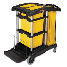 Rubbermaid® Commercial HYGEN™ HYGEN M-fiber Healthcare Cleaning Cart - 22w x 48-1/4d x 44h - Black/Yellow/Silver