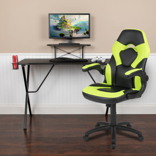 Our BlackArc Black Gaming Desk and Green/Black Racing Chair Set with Cup Holder, Headphone Hook, and Monitor/Smartphone Stand is on sale now.