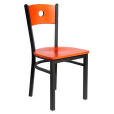 Darby Metal Frame Chair - Circle Wood Back and Wood Seat
