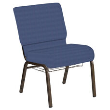 Embroidered 21''W Church Chair in Illusion Indigo Fabric with Book Rack - Gold Vein Frame