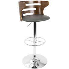 Cosi Mid-Century Modern Faux Leather Height Adjustable Swivel Barstool with Walnut Accents - Grey