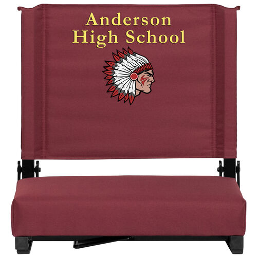 Our Embroidered Grandstand Comfort Seats by Flash with Ultra-Padded Seat in Maroon is on sale now.