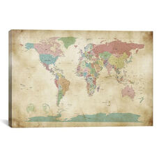 World Cities Map by Michael Tompsett Gallery Wrapped Canvas Artwork - 40