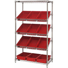 Stationary Slanted Wire Shelving with 3.5