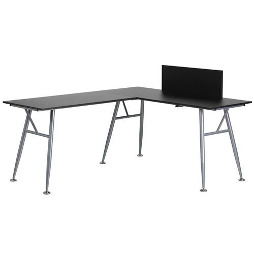 Our Black Laminate L-Shape Computer Desk with Silver Metal Frame is on sale now.