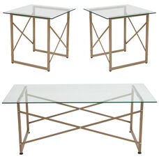 Mar Vista Collection 3 Piece Coffee and End Table Set with Glass Tops and Matte Gold Frames