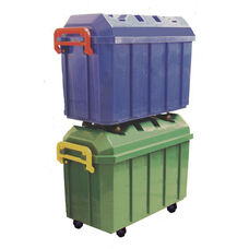 4 Pack of 18 Gallon Stackable Mobile Storage Trunks in Assorted Colors