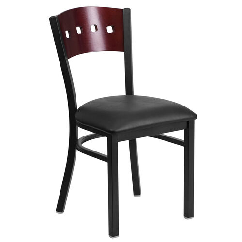 Our Black Decorative 4 Square Back Metal Restaurant Chair with Mahogany Wood Back & Black Vinyl Seat is on sale now.