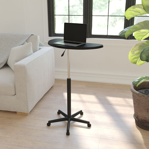 Sit to Stand Mobile Laptop Computer Desk - Portable Rolling Standing Desk