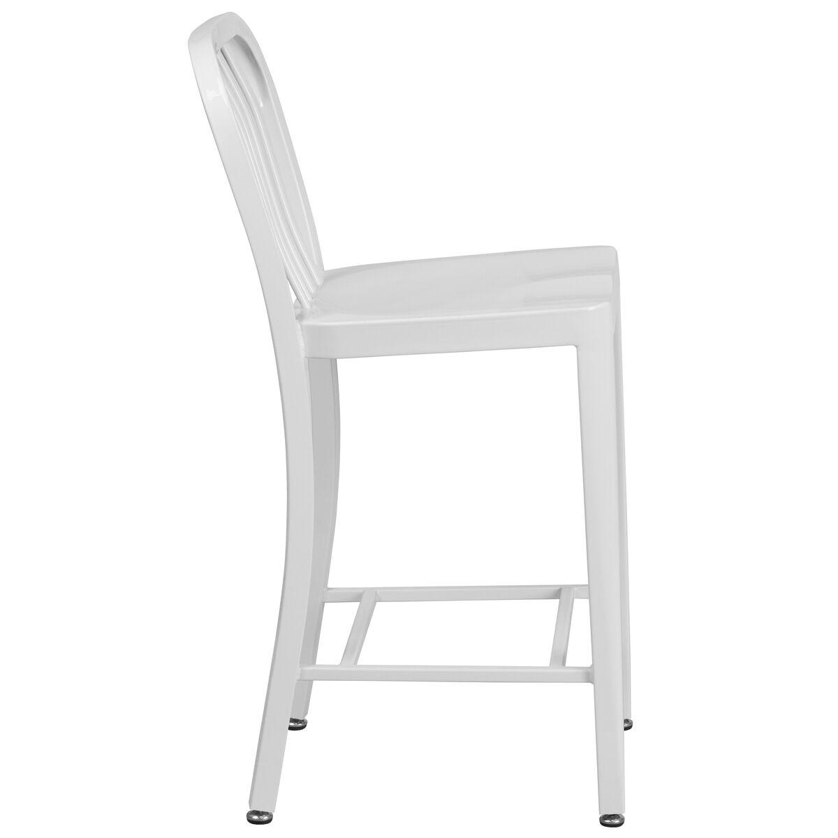 24 High White Metal Indoor Outdoor Counter Height Stool
