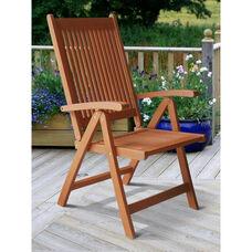 Malibu Outdoor Patio Wood 5 Position Reclining Armchair