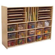 Multi-Shaped Baltic Birch Plywood Storage Unit with 15 Clear Cubbie Trays - 46.75
