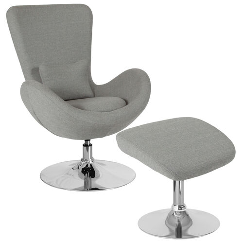 Our Egg Series Light Gray Fabric Side Reception Chair with Ottoman is on sale now.