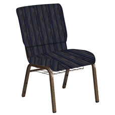 Embroidered 18.5''W Church Chair in Canyon Tartan Blue Fabric with Book Rack - Gold Vein Frame