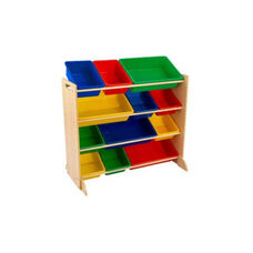 Sort It and Store It 12 Primary Color Plastic Bins with 4 Shelves Storage Unit - Natural