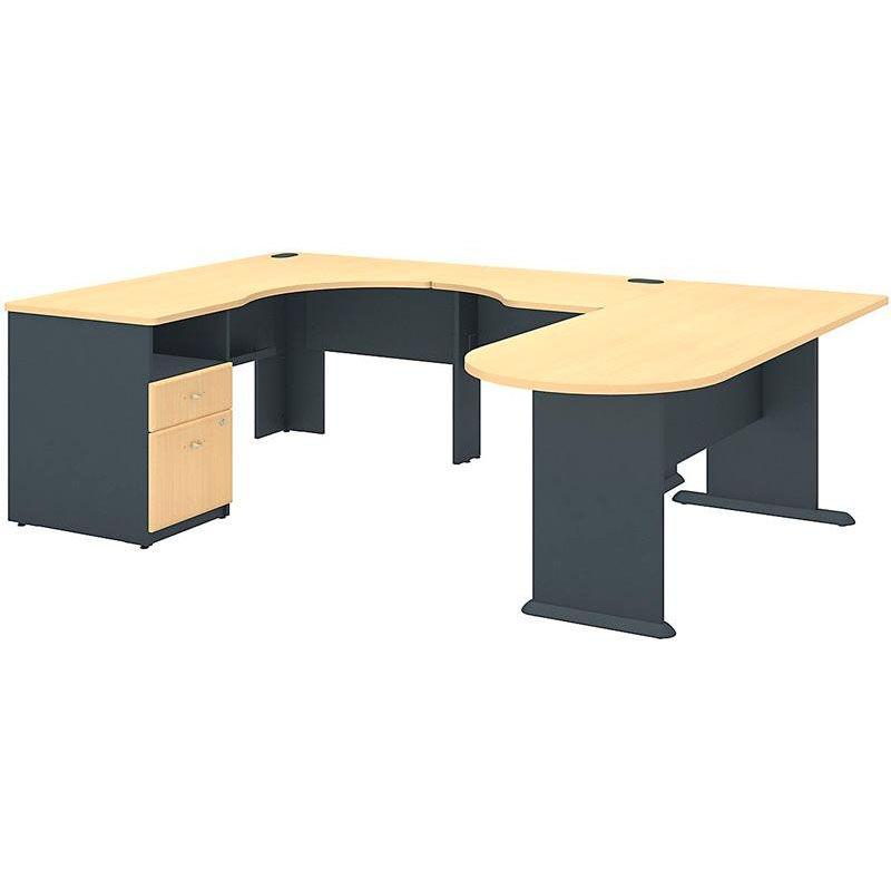 Bush Business Furniture Series A Collection Expandable Corner Desk  U Station   Beech SRA037BE | Bizchair.com