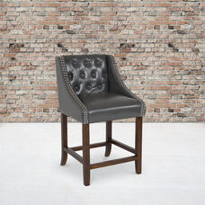 """Carmel Series 24"""" High Transitional Tufted Walnut Counter Height Stool with Accent Nail Trim in Dark Gray LeatherSoft"""