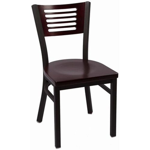 Our Jones River Series Wood Back Armless Chair with Steel Frame and Wood Seat - Mahogany is on sale now.
