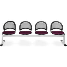 Moon 4-Beam Seating with 4 Fabric Seats - Burgundy