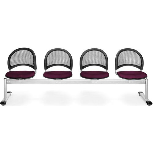 Our Moon 4-Beam Seating with 4 Fabric Seats - Burgundy is on sale now.