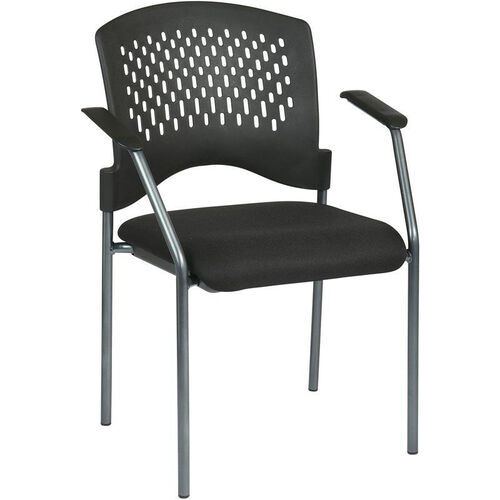 Pro-Line II Titanium Finish Visitors Stack Chair with Arms and Plastic Wrap Around Back - Black