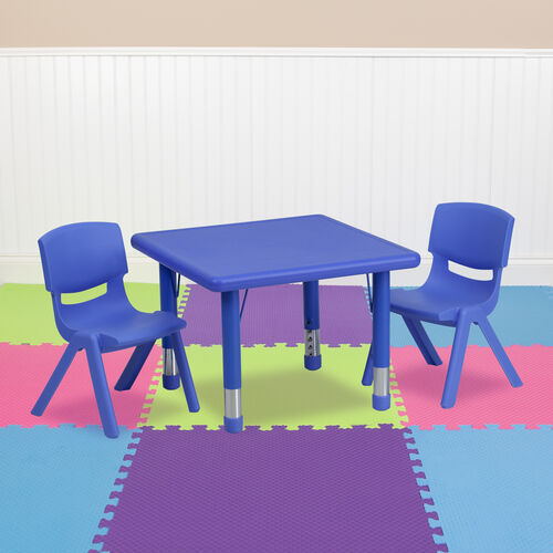 """Our 24"""" Square Plastic Height Adjustable Activity Table Set with 2 Chairs is on sale now."""
