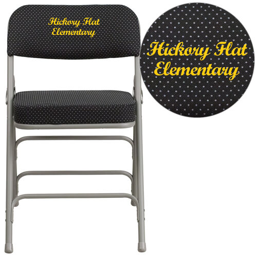 """Embroidered HERCULES Series 18""""W Premium Curved Triple Braced & Hinged Fabric Upholstered Metal Folding Chair"""