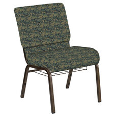 Embroidered 21''W Church Chair in Perplex Clover Fabric with Book Rack - Gold Vein Frame