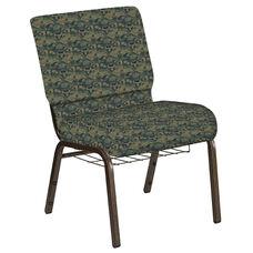 21''W Church Chair in Perplex Clover Fabric with Book Rack - Gold Vein Frame