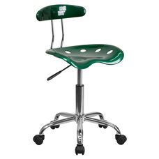 Vibrant Green and Chrome Swivel Task Chair with Tractor Seat