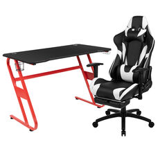 BlackArc Red Gaming Desk and Black Footrest Reclining Gaming Chair Set with Cup Holder and Headphone Hook